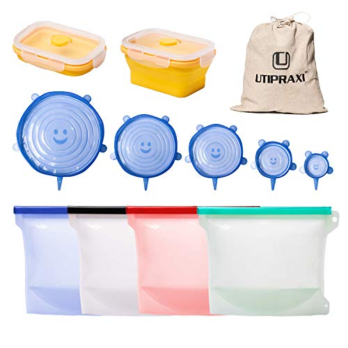 UTIPRAXI Silicone Food Storage Bags Bundle | 4 Reusable Silicone Bags, 6 Stretch Lids + Bonus Container | Leakproof Zip Top Sandwich & Snack Bags | Eco-Friendly, FDA Approved & No BPA
