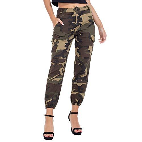 RUEWEY Women High Waist Hip Hop Dance Tapered Cargo Jogger Pants Trousers Harem Baggy Jogging Sweatpants (XXL, Camo Army Green)