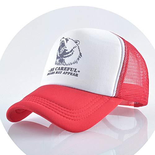 通気性のある グリッド スポーツ帽子 夏キャップ 男の子 キャップ,赤
