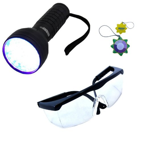 HQRP Professional 76 LED ultraviolet Flashlight with a Large Coverage Area and UV Protecting Safety Glasses with Clear Lens for arson investigation with 390 nM wavelenght plus HQRP UV Meter by HQRP