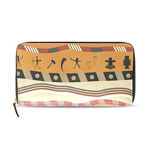 Womens Zipper Wallet Africa Art Clutch Purse Card Holder Bag by WIHVE