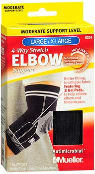 Mueller 4-Way Stretch Elbow Support Moderate Support Black Large/X-Large 6334-1 ea, Pack of 2