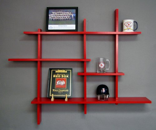 Deluxe Four Level Floating Shelf, Red MADE IN USA