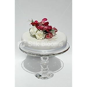 Beautiful, Bright Deep Pink Sweet Pea & Ivory Rose Cake Topper 3