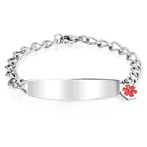 Bling Jewelry Womens Stainless Steel Medical Alert Red Enamel ID Charm Bracelet 7.5in with (Script Id Bracelet)