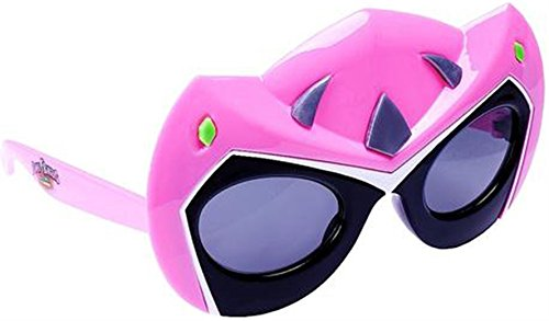 Sunstaches Mighty Morphin' Power Rangers Dino Charge Pink Power Ranger Sunglasses, Party Favors, UV400 -