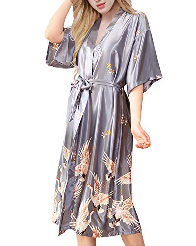 Kimono Dressing Gowns - ETAOLINE Womens Satin Kimono Robe Printed Bathrobes Bridal Dressing Gown Grey