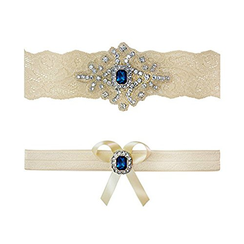 Toss Wedding Garter Set - Ivory Sapphire Blue Wedding Bridal Garter Set Keepsake Toss (Large (20