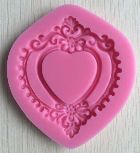 Hornear Moldes Formas corazón barroco Marco de encaje molde de silicona para tartas Candy repostería herramientas silicona antiadherente Sugarcraft Fondant ...