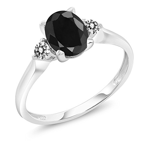 14K White Gold 1.79 Ct Black Sapphire White Diamond 3-Stone Ring (Available in size 5, 6, 7, 8, 9) by Gem Stone King