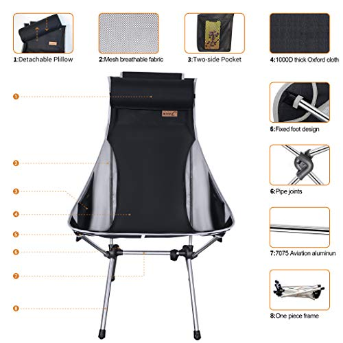 NiceC Ultralight High Back Folding Camping Chair, Upgrade with Removable Pillow, Side Pocket & Carry Bag, Compact & Heavy Duty for Outdoor, Camping (Set of 1 Black)