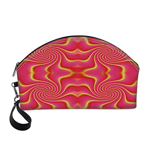 Spires Decor Beautiful Women's semi circular cosmetic bag,Digital Pop Art Produced Figural Expanding Shady Lines and Nested Shape Design For traveling,10.8