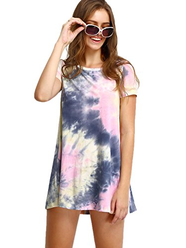 ROMWE Women's Short Sleeve Summer Casual Tie Dye T-Shirt Dress Multicolor XL