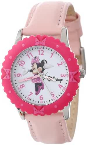 Disney Kids' W000028 Time Teacher Minnie Mouse Stainless Steel Watch with Pink Leather Band