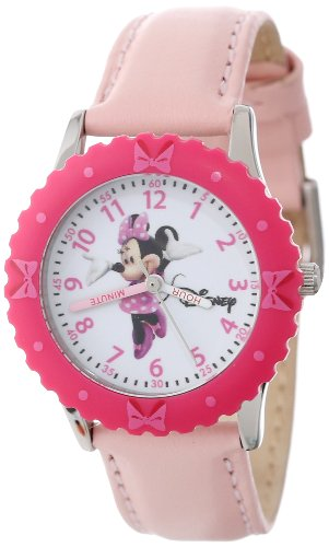 Disney Kids' W000028 Time Teacher Minnie Mouse Stainless Steel Watch with Pink Leather Band (Time Watch Leather Teacher)