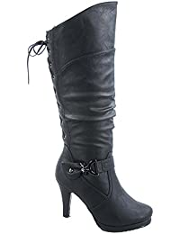Womens Page-65 Knee High Round Toe Lace-Up Slouched High Heel Boots