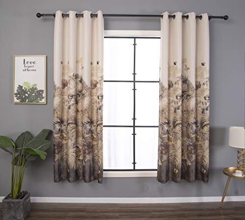 (Taisier Home Faux Linen Autumn Curtains Leaves Print Window Treatment for Bedroom Vintage Palm Floral Luxury Design for Living Room Thick Grommet Top(52