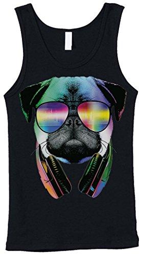 Blittzen Womens Stretch Rib Tank Pug Sunglasses Headphones, S, - Sunglasses Dubstep