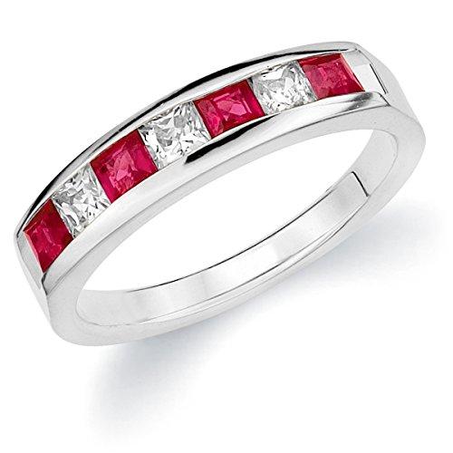 Princess Cut Diamond Eternity Ring - 18K White Gold Diamond Princess Cut Ruby Ring (1.0 cttw, F-G Color, VVS2-VS1 Clarity) Size 9.5