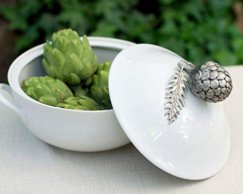 - Vagabond House Stoneware Soup Tureen Stoneware with Pewter Artichoke top Handle 11