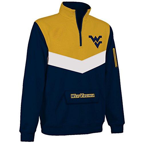 (Elite Fan Shop WVU West Virginia Mountaineers Quarter Zip Sweatshirt Captain - M - Navy)