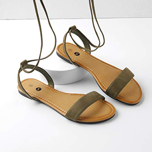 Tie Ankle Toe for Women Open Rekayla Tan Wrap Up Flat Sandals AqxnEfw