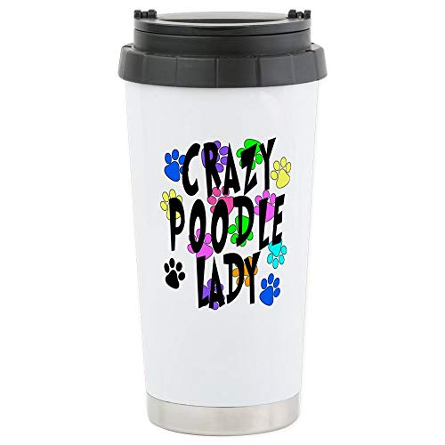 CafePress Crazy Poodle Lady Stainless Steel Travel Mug Stainless Steel Travel Mug, Insulated 16 oz. Coffee ()