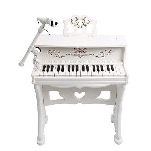 Xyanzi kids toys Children's Piano, Kids Classic 30 Key Miniature Mini Baby Grand Piano Toy with Bench Microphone Mini Musical Toy for Child(Pink/White) (Color : -