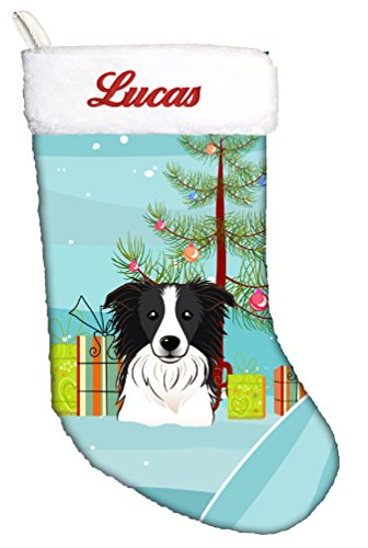 Caroline's Treasures BB1613CSEMB Christmas Tree and Border Collie Personalized Christmas Stocking, Large, -