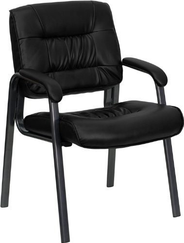 (Flash Furniture Black Leather Executive Side Reception Chair with Titanium Frame Finish)