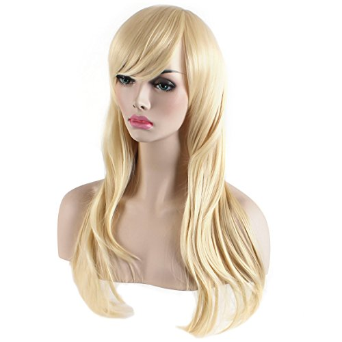 "AKStore Fashion Wigs 28"" 70cm Long Wavy Curly Hair Heat Resistant Wig Cosplay Wig For Women With Free Wig Cap (Golden)"