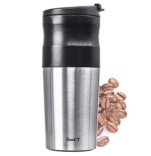Include Usb - ZenCT Single Cup Coffee Maker, Single Serve Portable Coffee Grinder Automatic Grind and Brew includes USB Chargeable - Reusable Filter - 15 oz Insulated Tumbler
