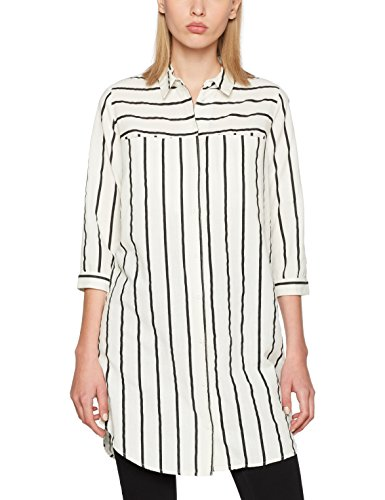 VERO MODA Vmstripy 3/4 Long Shirt A, Blouse Femme, Blanc (Snow White), 40 (Taille Fabricant: Large)