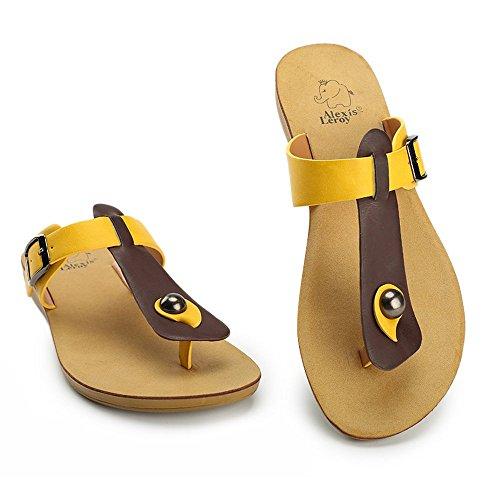 Alexis Leroy nuevo T-Strap diseño, Sandalias Flip-Flop para Mujer Amarillo
