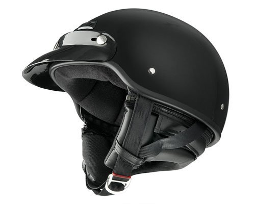 Raider Deluxe Half Helmet (Gloss Black, Large)