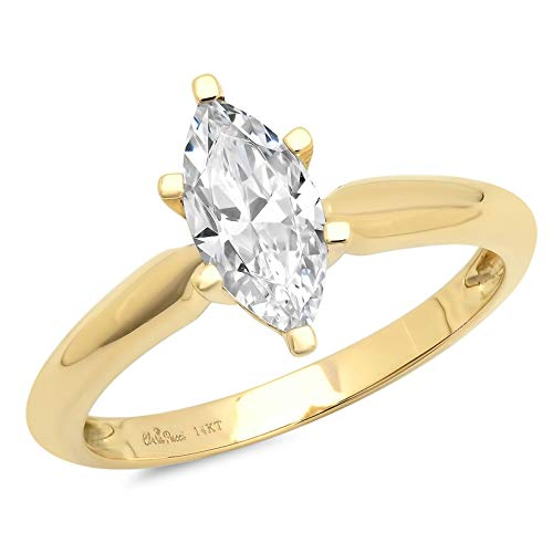 (1.0 ct Brilliant Marquise Cut Solitaire Highest Quality Moissanite Ideal VVS1 D 6-Prong Engagement Wedding Bridal Promise Anniversary Ring in Solid Real 14k Yellow Gold for Women, Size 10.5)