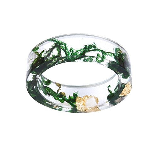 New-Arrival-Handmade-Green-Color-Dried-Flowers-Transparent-Resin-WomenMens-Charm-Ring