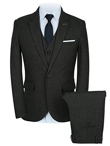 Mens 3-Piece Slim Fit Casual Winter Dress Suits Set Blazer+Vest+Pants