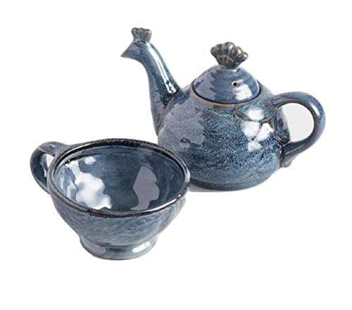 (Peacock 2 Piece Stack-able Tea Set For One with Teapot and Teacup 14 Ounce - Blue Stoneware)