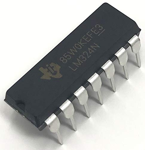 Texas Instruments LM324N LM324 Quadruple Independent High-Gain Frequency-Compensated Operational Amplifier Op-Amp IC DIP-14 14-PIN DIP Breadboard-Friendly (Pack of 1)