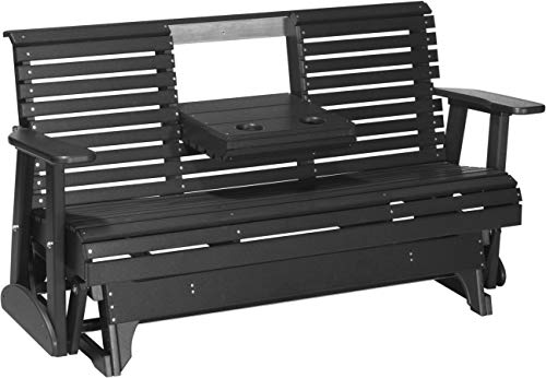 Furniture Barn USA Outdoor 5 Foot Rollback Glider - Black Poly Lumber - Recycled Plastic