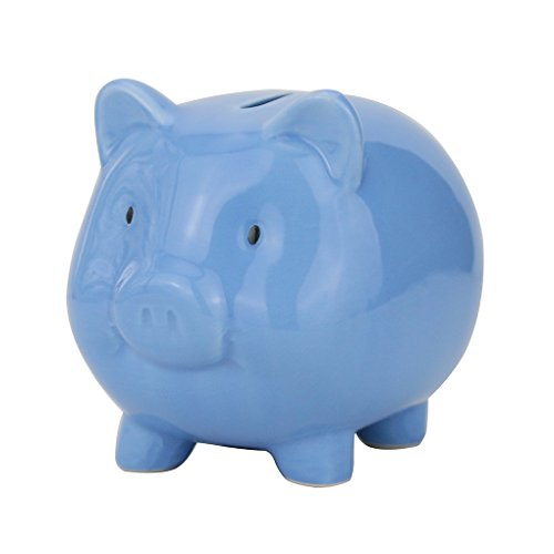 Baby Blue Pig (Lovollect Children Piggy Bank, Cute Pig for Saving Money, Ceramic Material, Color Box for Gifts)
