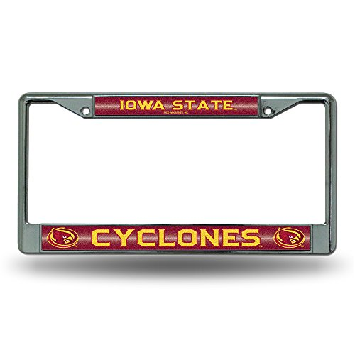 NCAA Iowa State Cyclones Bling Chrome License Plate Frame with Glitter Accent