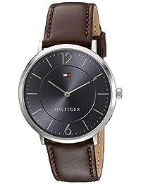 Tommy Hilfiger Deporte sofisticado cuarzo acero inoxidable y piel reloj automático de los hombres, Color café (Modelo: 1710352)