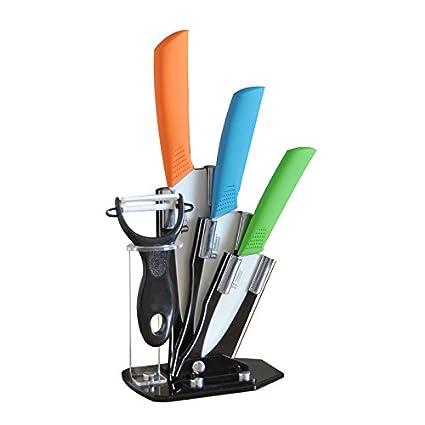 Tim Home La Mejor Herramienta para tu Cocina 4ps Cuchillos Multi Color de Cerámica de 3