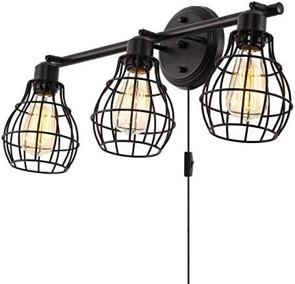 Stepeak Bathroom Vanity Lights,Industrial Wall Sconces Rustic Light Fixture Light Lamp,3-Light,Metal Wire Cage Design