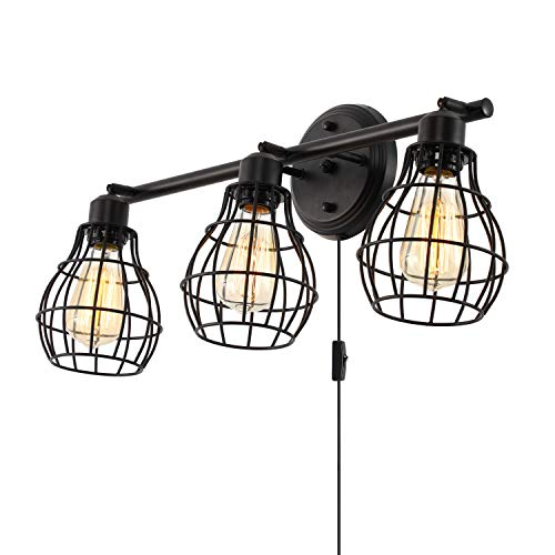 Bathroom Vanity Lights,Industrial Wall Sconces Rustic Light Fixture Light Lamp,3-Light,Metal Wire Cage ()