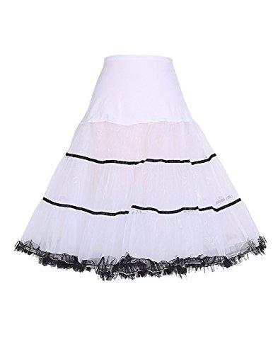 [Honeystore Women's Vintage 1950s Underskirt Rockabilly Fancy Dress Tutu Costume White Black M] (Rockabilly Costumes)