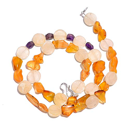 kanta incorporation Natural Carnelian Aventurine Amethyst Gemstone Smooth Beads Necklace 17