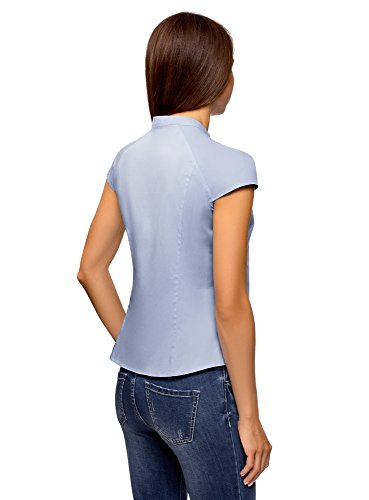 7001n Femme et Bleu Montant Ultra oodji Chemise Raglan Manche Col w51nqCzx